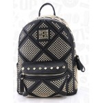 Black Gold Metal Studs Gothic Punk Rock Backpack