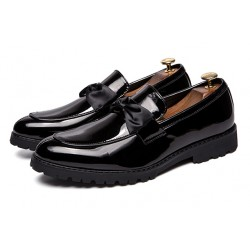 Black Patent Satin Bow Mens Loafers Dapperman Dress Shoes Flats