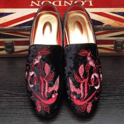Black Red Velvet Embroidery Flowers Loafers Dapperman Dress Shoes Flats