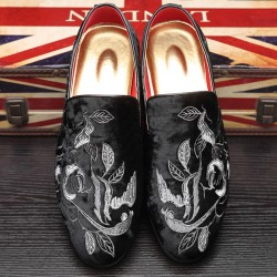 Black White Velvet Embroidery Flowers Loafers Dapperman Dress Shoes Flats