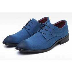 Blue Suede Wingtip Lace Up Mens Oxfords Loafers Dapperman Dress Shoes Flats