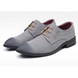 Grey Suede Wingtip Lace Up Mens Oxfords Loafers Dapperman Dress Shoes Flats