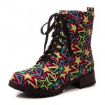 Pink Blue Stars  Lace Up High Top Military Combat Rider Boots