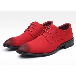 Red Suede Wingtip Lace Up Mens Oxfords Loafers Dapperman Dress Shoes Flats