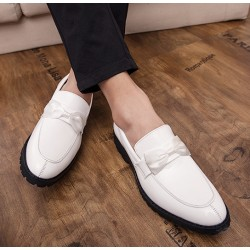 White Patent Satin Bow Mens Loafers Dapperman Dress Shoes Flats
