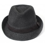 Black Straw Woven Jazz Bowler Hat