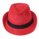 Red Straw Woven Jazz Hat