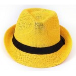 Yellow Straw Woven Jazz Bowler Hat
