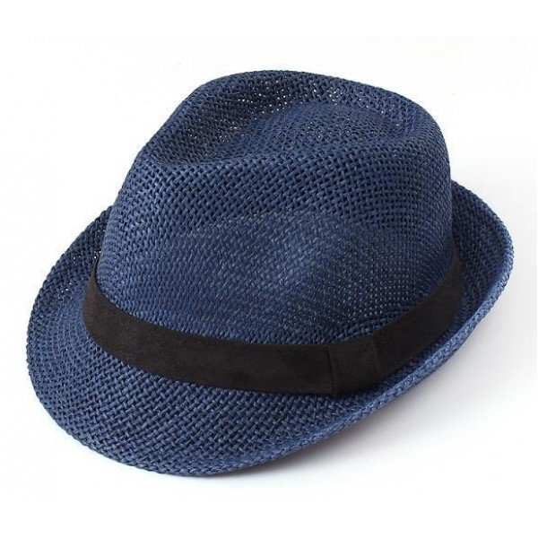Blue Straw Woven Jazz Bowler Hat
