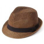 Brown Straw Woven Jazz Bowler Hat