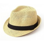 Cream Beige Straw Woven Jazz Bowler Hat