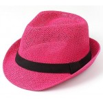 Pink Straw Woven Jazz Bowler Hat