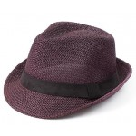 Purple Straw Woven Jazz Bowler Hat