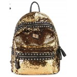 Gold Sequins Glittering Metal Studs Gothic Punk Rock Backpack