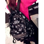 Black Silver Stars Sequins Glittering Metal Studs Gothic Punk Rock Backpack