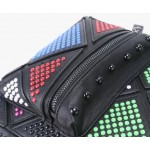 Black Colorful Rainbow Studs Gothic Punk Rock Backpack