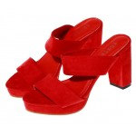 Red Suede Leather Straps Block High Heels Pump Sandals Shoes