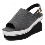Grey Punk Rock Gothic Sling Back Platforms Wedges Straps Sandals Shoes