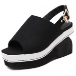 Black Punk Rock Gothic Sling Back  Platforms Wedges Straps Sandals Shoes