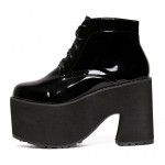 Black Patent Lace Up Platforms Punk Rock Chunky Heels Boots Creepers Shoes
