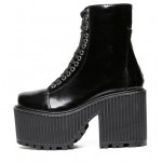Black Patent Leather Lace Up Platforms Thick Sole Chunky Heels Boots Creepers Shoes