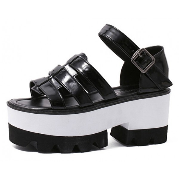 Black Patent Leather Punk Rock Gothic Platforms Sandals Shoes
