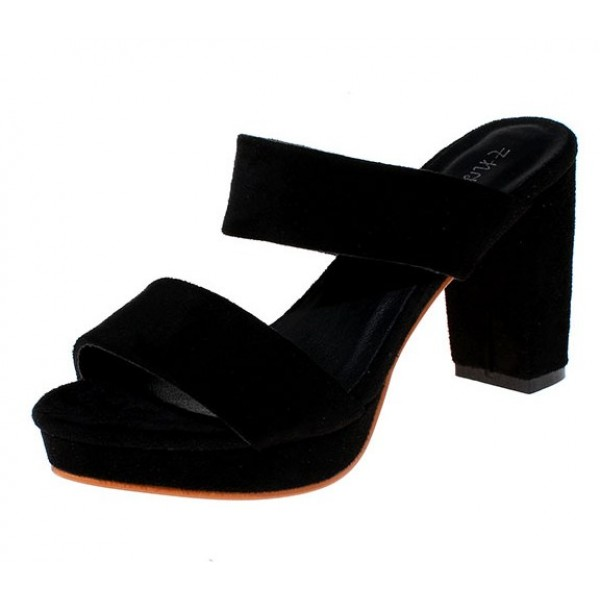 Black Suede Leather Straps Block High Heels Pump Sandals Shoes