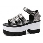 Grey Silver Patent Leather Punk Rock Gothic Platforms Sandals Shoes