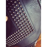 Black Square Spikes Studs Punk Rock Gothic Oversized Envelope Clutch Bag Purse