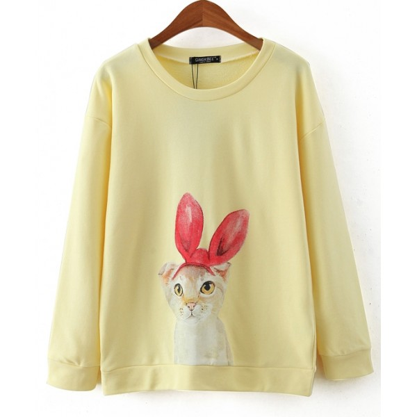 Yellow White Rabbit Long Sleeve Sweatshirts Tops