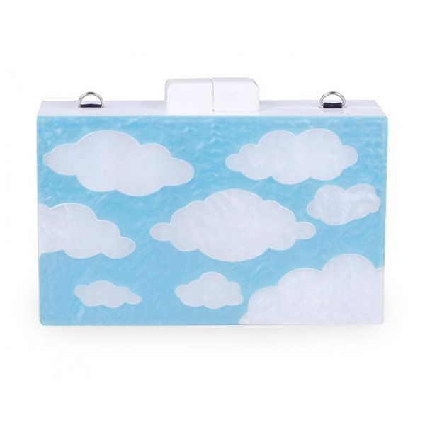 Blue White Sky Cloud Acrylic Rectangular Evening Clutch Purse Jewelry Box
