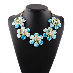 Blue Flowers Vintage Glamorous Bohemian Ethnic Necklace