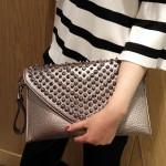 Silver Spikes Studs Punk Rock Gothic Oversized Envelope Clutch Bag Purse