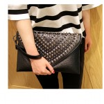 Black Spikes Studs Punk Rock Gothic Oversized Envelope Clutch Bag Purse