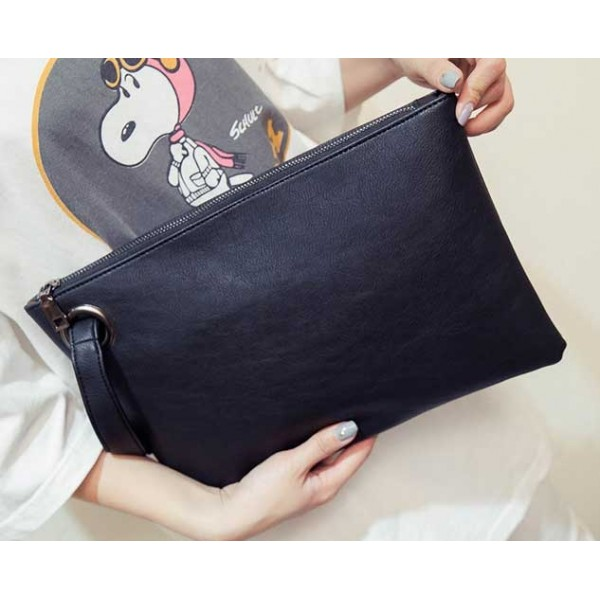Black Vintage Oversized Envelope Clutch Bag Purse