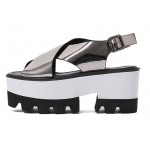 Silver Metallic Shiny Mirror Cross Straps Punk Rock White Platforms Sandals Shoes