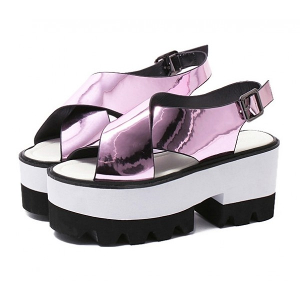 Pink Metallic Shiny Mirror Cross Straps Punk Rock White Platforms Sandals Shoes