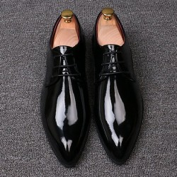 Black Patent Glossy Pointed Head Lace Up Mens Oxfords Shoes