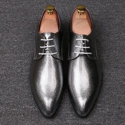 Silver Metallic Glitter Pointed Head Lace Up Mens Oxfords Shoes