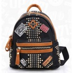 Black Blue Burgundy Vintage Studs Emblems Labels Gothic Mini Punk Rock Backpack