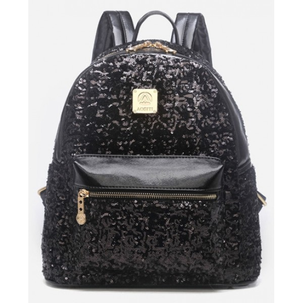 Black Metallic Shiny Sequins Glittering Gothic Punk Rock Backpack