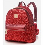 Red Metallic Shiny Sequins Glittering Gothic Punk Rock Backpack