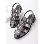 Grey Silver Patent Leather Straps Gladiator Cage Flats Sling Back Sandals Shoes