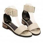 Cream Ankle Straps Buckle Gladiator Flats Sling Back Sandals Shoes