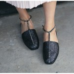 Black Glitter Sparkle Studs T Straps Gladiator Flats Flip Flop Sandals Shoes