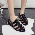 Black Patent Leather Straps Gladiator Cage Flats Sling Back Sandals Shoes