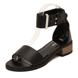 Black Ankle Straps Buckle Gladiator Flats Sling Back Sandals Shoes