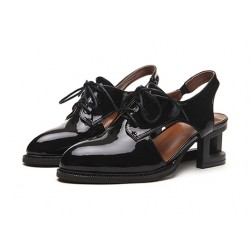 Black Cream Patent Leather Hollow Out Lace Up Heels Women Oxfords Shoes