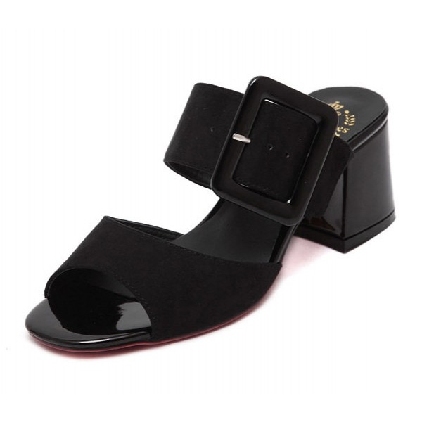 Black Peep Toe Big Buckle Big Block Heels Sandals Shoes