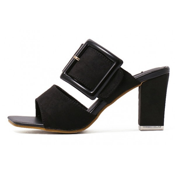 Black Suede Peep Toe Big Buckle Big Block Heels Sandals Shoes